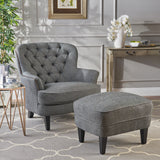 Button Tufted Upholstered Club Chair With Footstool - NH295992