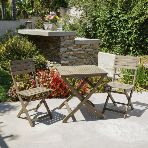 Outdoor 3 Piece Foldable Acacia Wood Bistro Set - NH802103