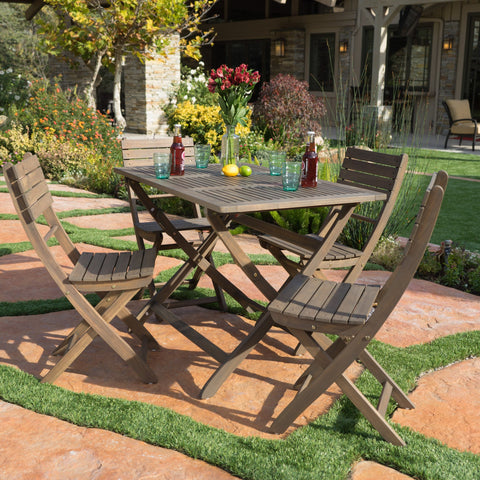 Outdoor Grey Finish Acacia Wood Foldable Dining Set - NH808992