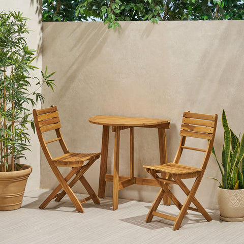 Outdoor 2 Seater Half-Round Acacia Wood Bistro Table Set with Folding Chairs - NH818903