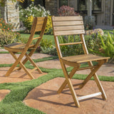Outdoor Natural Finish Acacia Wood Foldable Dining Chairs (Set of 2) - NH518992