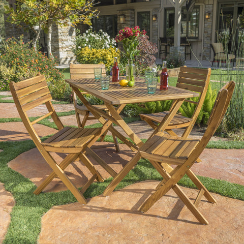 Outdoor Natural Finish Acacia Wood Foldable Dining Set - NH908992