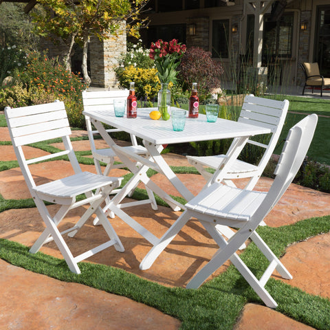 Outdoor White Finish Acacia Wood Foldable Dining Set - NH018992