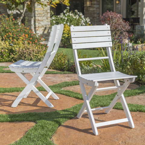 Outdoor White Finish Acacia Wood Foldable Dining Chairs - NH618992