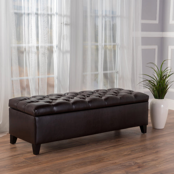 Button-Tufted Leather Storage Ottoman Bench - NH283992