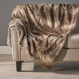 Modern Glam Striped Faux Fur Throw Blanket - NH617992