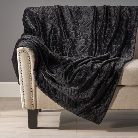 Black Fur Fabric Throw Blanket - NH717992