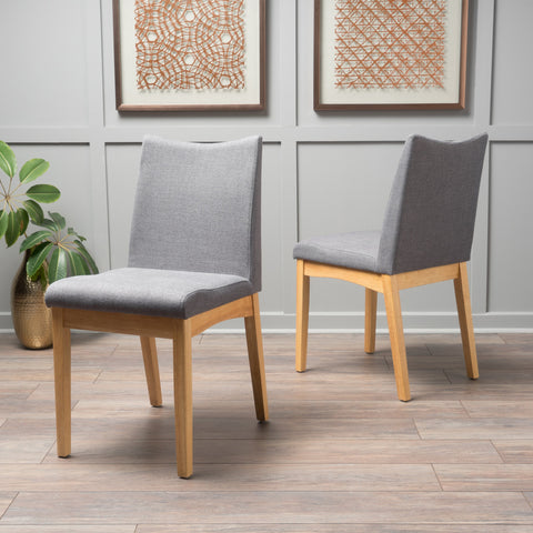 Fabric & Wood Finish Mid-Century Modern Dining Chairs (Set of 2) - NH120003