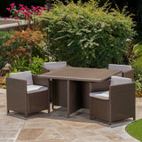 Outdoor Wicker 5Pc Dining Set w/ Water Resistant Cushions - NH798003