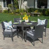 Outdoor 5 Piece Grey Wicker Dining Set with Cushions - NH402003