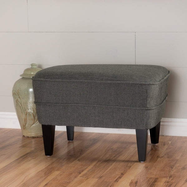 Ribbed Design Wood & Fabric Ottoman - NH744992