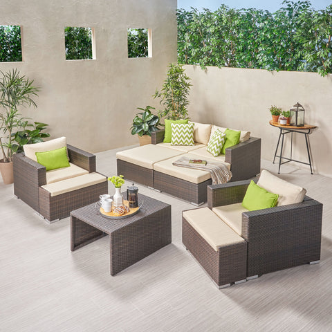 Outdoor 4 Seater Wicker Chat Set with Ottomans - NH369903