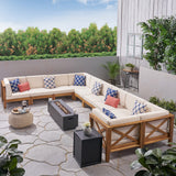 Outdoor Acacia Wood 10 Seater U-Shaped Sectional Sofa Set with Fire Pit - NH777603