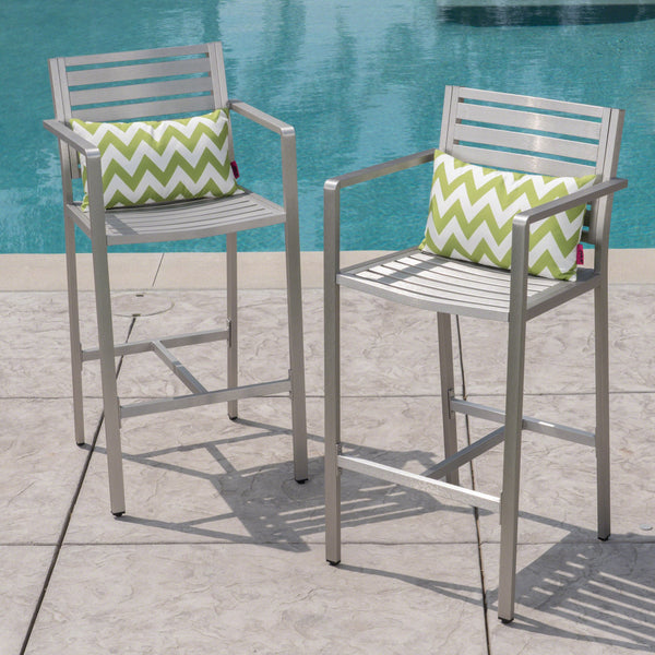 Outdoor Silver Rust-Proof Aluminum 29.50 Inch Barstools - NH752403