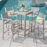 Outdoor 5 Piece Silver Rust-Proof Aluminum Bar Set with Grey Tempered Glass Top Bar Table - NH562403