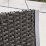 Outdoor Modern 3-Piece Gray Wicker Bar Set with Aluminum Frame - NH853003