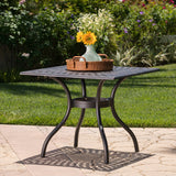 Outdoor Patina Copper Cast Aluminum Square Dining Table - NH376003