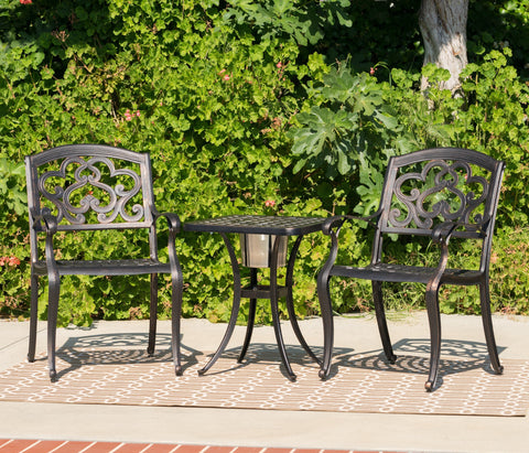 Outdoor 3 Piece Patina Copper Finish Cast Aluminum Bistro Set - NH776003