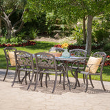 Outdoor 7 Pc Patina Copper Cast Aluminum Dining Set - NH076003