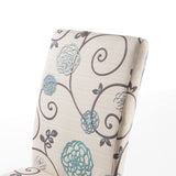 White and Blue Floral Fabric Dining Chair, Set of 2 - NH844992