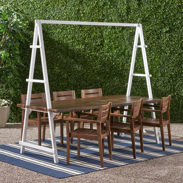 Outdoor Modern 6 Seater Acacia Wood and Iron Planter Dining Set - NH937903