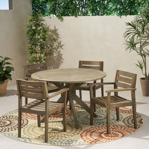 Outdoor 5 Piece Acacia Wood Dining Set with Round Table, Gray Finish - NH385503