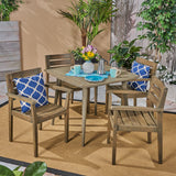 Outdoor 5 Piece Acacia Wood Dining Set wit Straight Legged Dining Table - NH485503