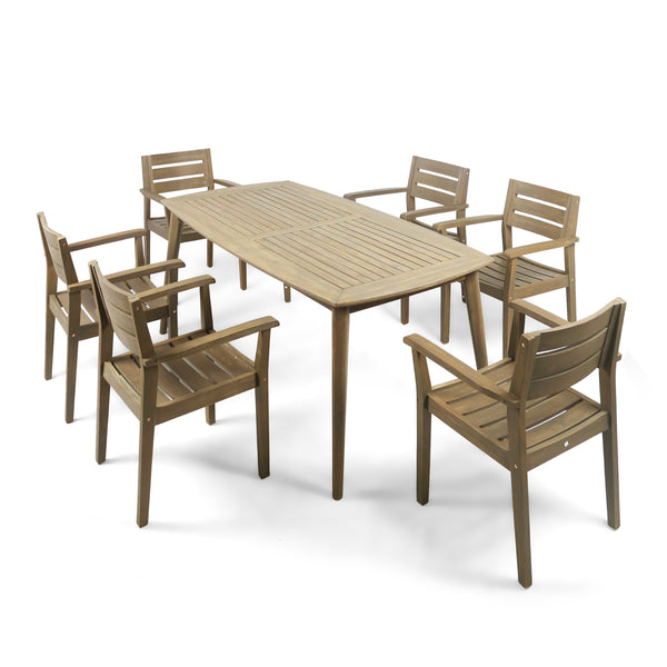 Outdoor 7 Piece Acacia Wood Dining Set, Gray Finish - NH185503