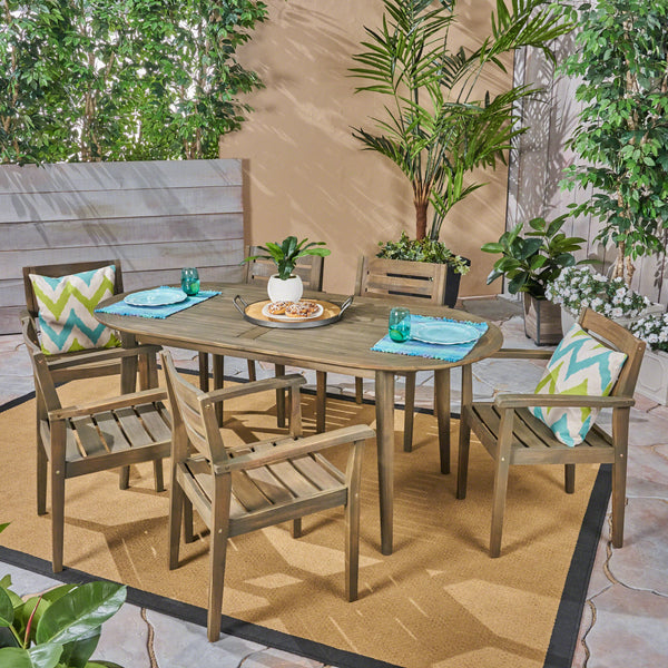 Outdoor 7-Piece Acacia Wood Dining Set with Oval Table, Gray Finish - NH660603