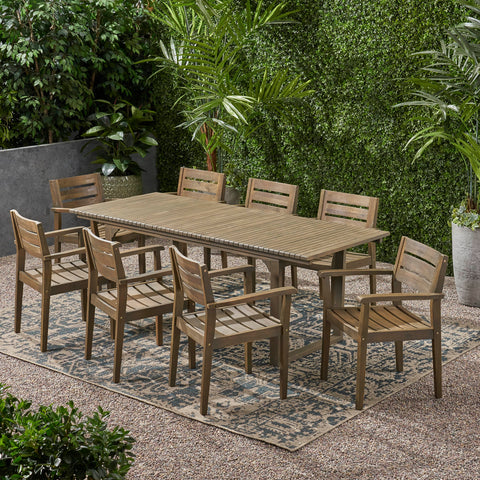 Outdoor 8 Seater Expandable Acacia Wood Dining Set - NH686903