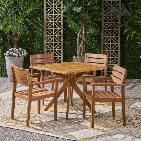 Outdoor 5 Piece Acacia Wood Dining Set Wit X Base - NH491503