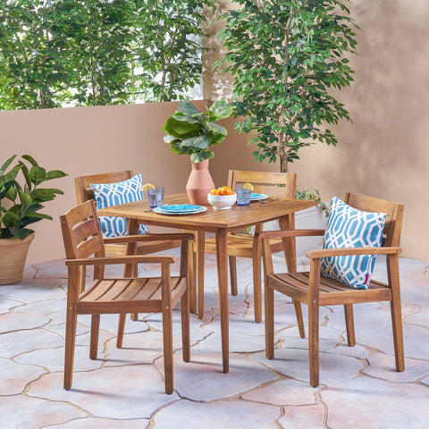 Outdoor 5 Piece Acacia Wood Dining Set, Teak - NH111503
