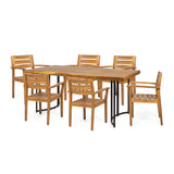 Outdoor Modern Industrial 7 Piece Acacia Wood Dining Set - NH429213