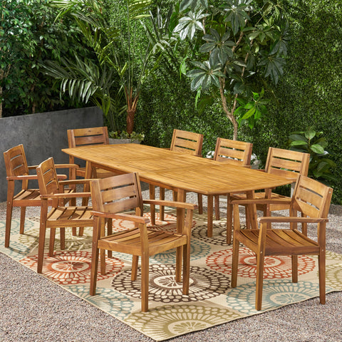 Outdoor Acacia Wood Expandable 8 Seater Dining Set - NH016903