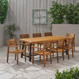 Outdoor Acacia Wood 8 Seater Dining Set - NH536903