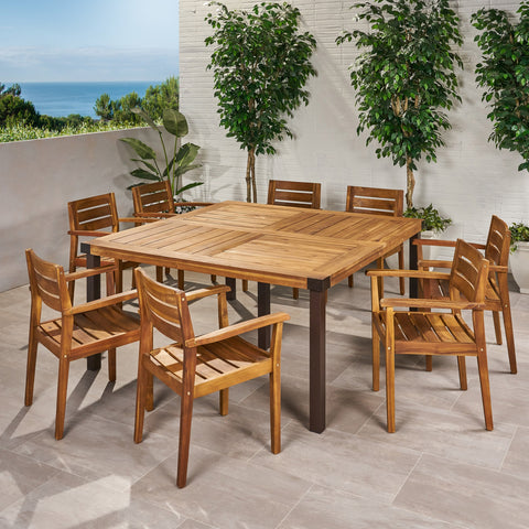 Outdoor 8 Seater Acacia Wood Dining Set - NH390013