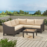 6pc Outdoor Wicker V-shaped Sectional Sofa Set w/ Cushions - NH390003