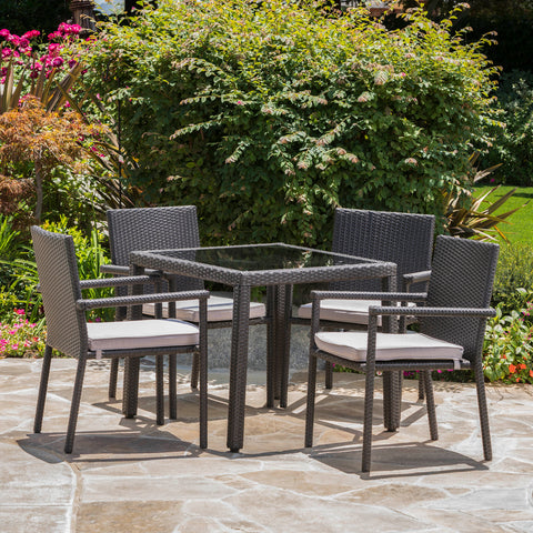 Outdoor 5 Piece Dining Set with Water Resistant Cushions - NH728003