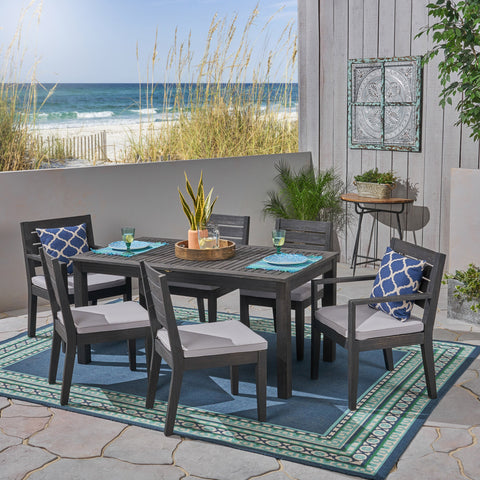 Outdoor 6-Seater Acacia Wood Expandable Dining Set - NH705603