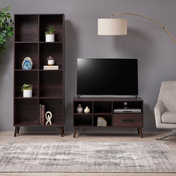 Mid Century 2 Piece TV Stand & Bookcase Set - NH098903