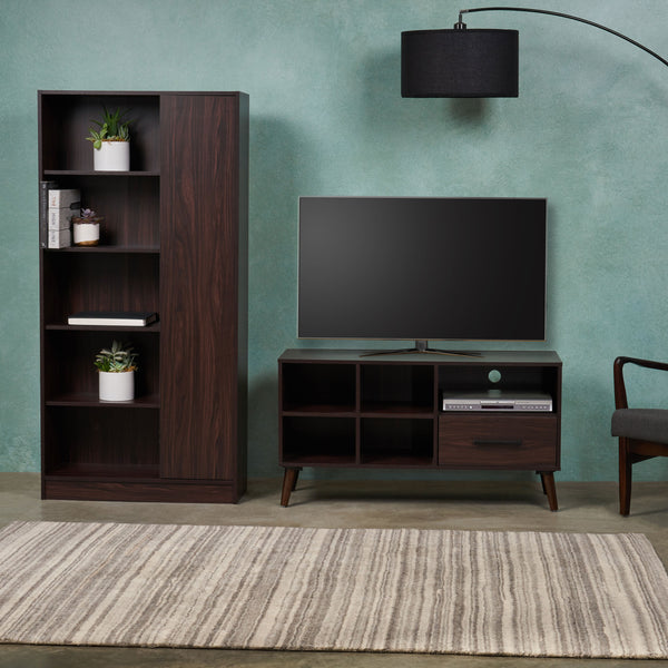 Mid Century 2 Piece TV Stand & Bookcase Set - NH798903