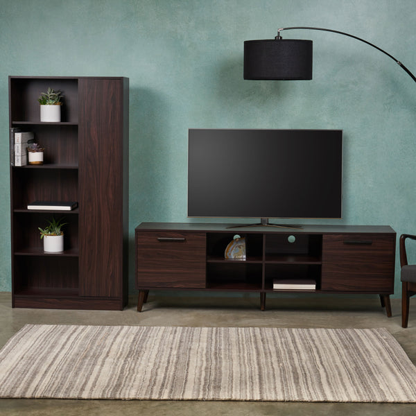 Mid Century 2 Piece TV Stand & Bookcase Set - NH898903