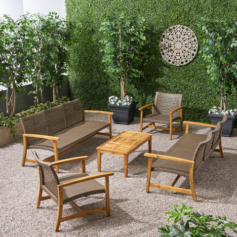 Outdoor 5 Piece Wood and Wicker Sofa Chat Set - NH091803