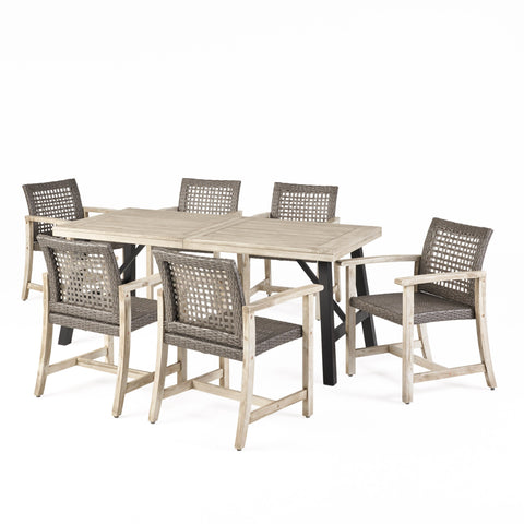 6 Seater Outdoor Acacia Wood and Wicker Dining Set - NH104013