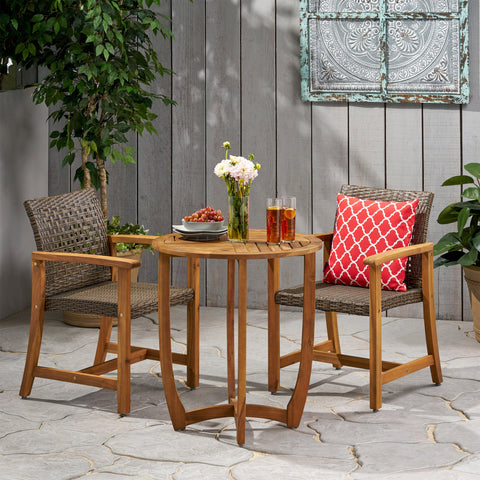 Outdoor 2 Seater Acacia Wood Dining Set - NH833013