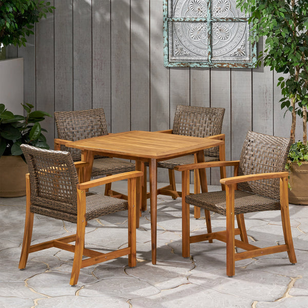 Outdoor 4 Seater Acacia Wood Dining Set - NH633013
