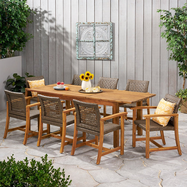 Outdoor 8 Seater Acacia Wood Dining Set with Expandable Table - NH933013