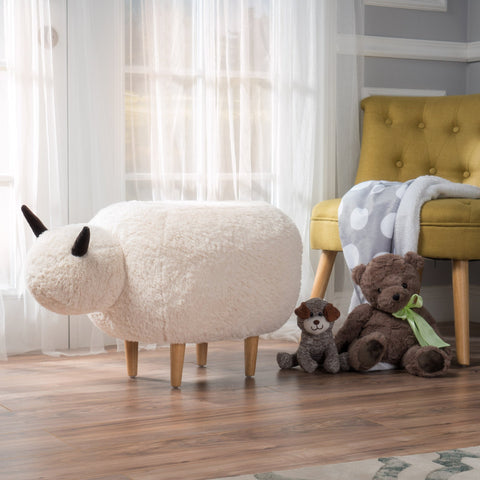Modern White Faux Fur Sheep Ottoman with Tapered Wood Legs - NH187992
