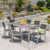 Outdoor 7 Piece Aluminum and Wicker Dining Set with Faux Wood Table Top - NH834503
