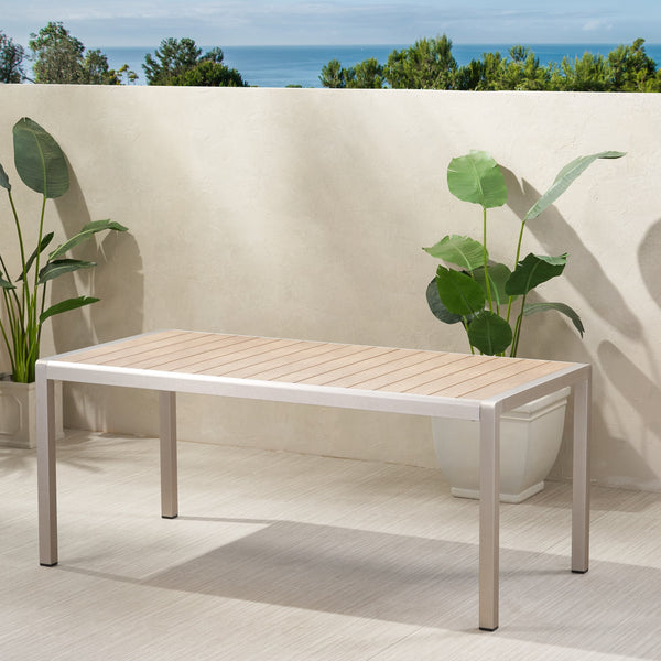 Outdoor Modern Aluminum Dining Table with Faux Wood Table Top - NH849013